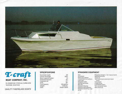 T Craft 30 Sports Cabin Brochure