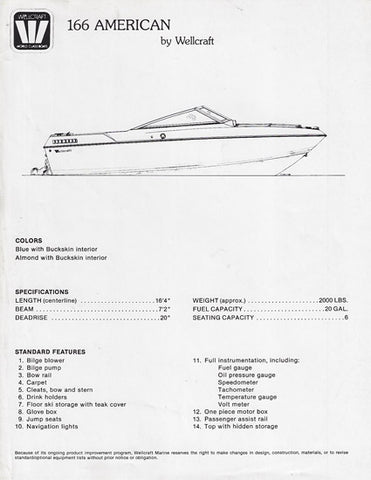 Wellcraft 166 American Specification Brochure