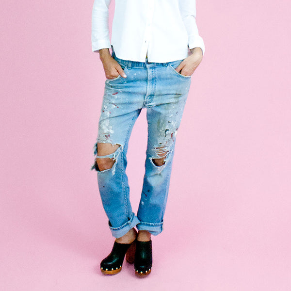 Straight fit hip slung distressed denim