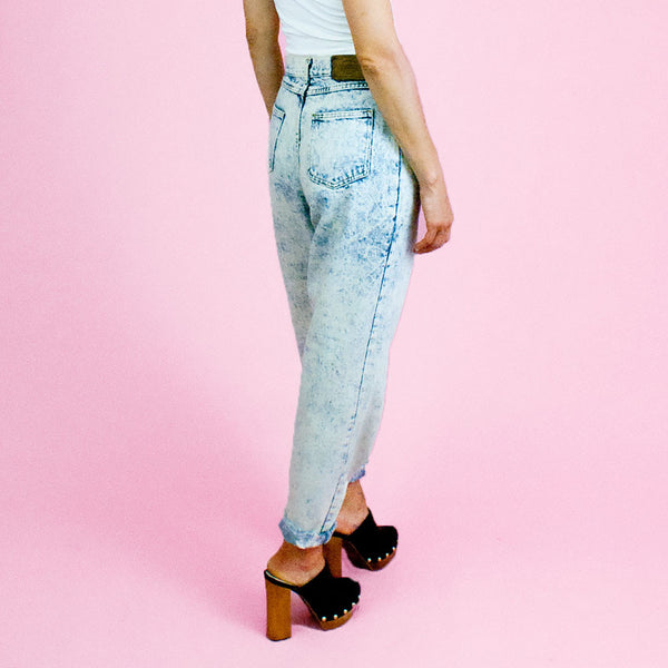 1980s acid wash pleated front high waisted denim