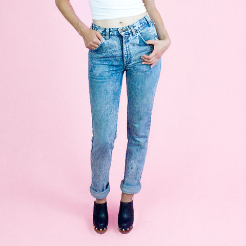 Levi's acid wash high waisted tapered fit denim
