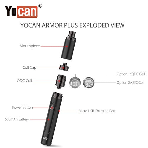 2 Yocan Armor Plus Variable Voltage Wax Pen Exploded View Vape Pen Sales