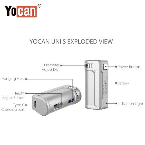 2 Yocan Uni S Cartridge Battery Mod Colors Exploded View Vape Pen Sales