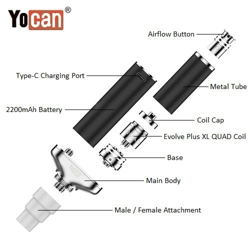 3 Yocan Torch XL 2020 Edition Exploded View Vape Pen Sales