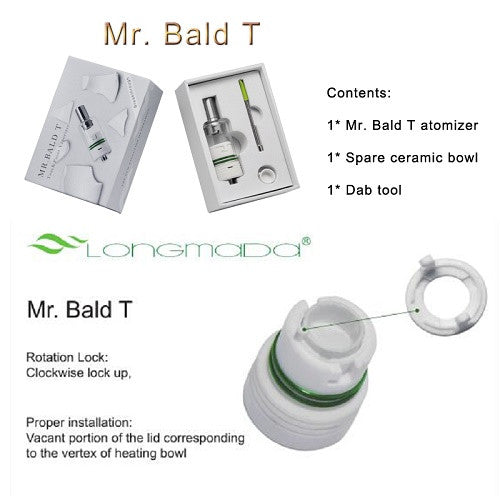 Mr Bald T - Touch Point Baking Wax and Dry Herb Ceramic Coil Vaporizer - Vape Pen Sales - 3