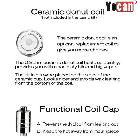 Yocan Evolve/Pandon Replacement Coil - Dual Quartz, Ceramic, Coil Cap