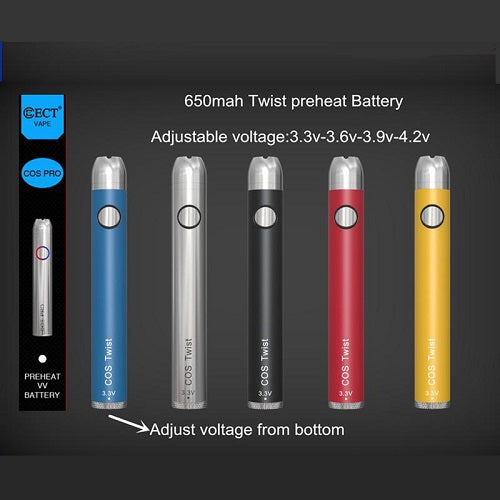 ECT COS Twist 650mah Preheating Variable Voltage Battery