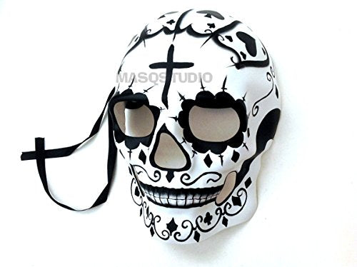 Mens Day of the Dead Mask Full Face Masquerade Dia de los Muertos Skull Mask