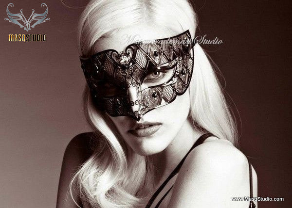 Unisex Black Metal Masquerade Mask