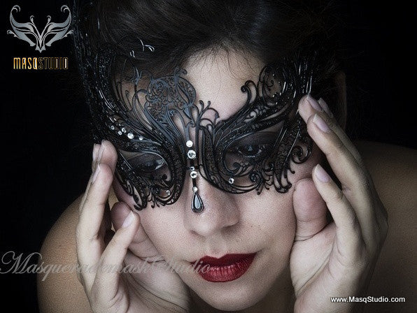 Filigree laser cut metal black swan Masquerade Mask