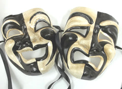 Full Face Tragedy Comedy Masquerade Mask for Man Woman Halloween Party