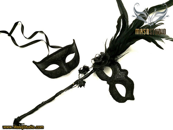 Couple Masquerade mask set Venetian roses Feathered Black Stick mask Pair