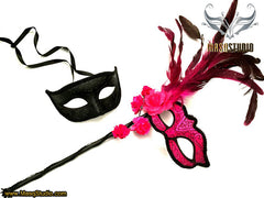 Black Hot pink Fuchsia roses Feather Masquerade Mask pair for couple