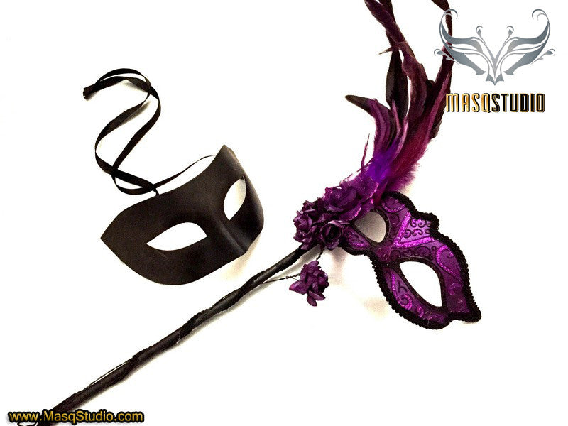 Black Purple roses Feather Masquerade Mask pair for couple