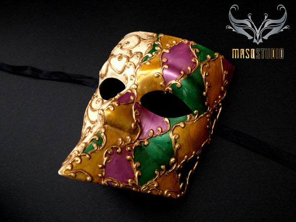 Men's Venetian Bauta Masquerade Ball Mardi Gras Mask Purple Green Gold