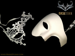Luxury Laser cut Couple Phantom White Masquerade Mask Set