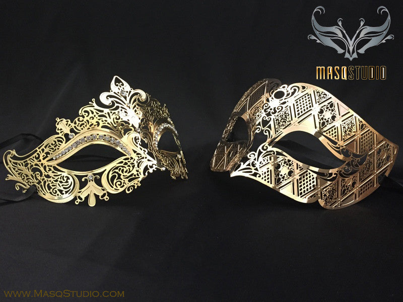 Luxury Venetian Couple Stacy Gold Masquerade Mask Set