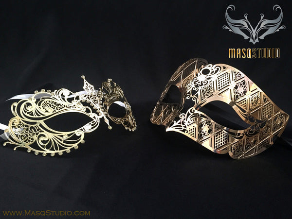 Filigree laser cut metal Couple Gold Masquerade Mask Set Chloe