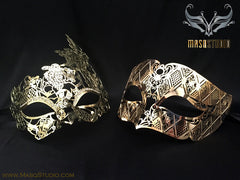 Luxury metal Couple Gold Masquerade Mask Set