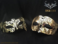 Luxury metal Couple Gold Butterfly Masquerade Mask Set