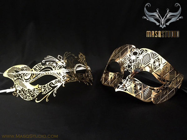Luxury Venetian Couple Gold Cat Masquerade Mask Set