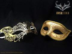 Couple Masquerade Mask Set Laser cut Gold Cat