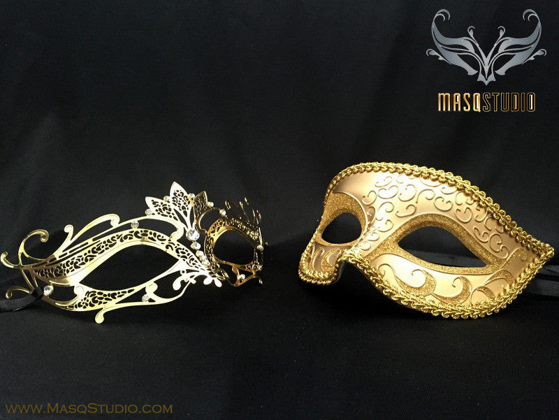 Couple Masquerade Mask Set Laser cut Mysterious Gold LOTTO