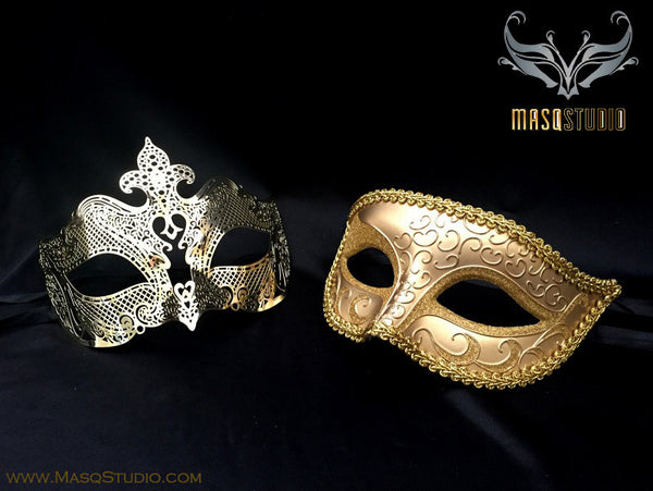 Couple Masquerade Mask Set Laser cut Gold Petite
