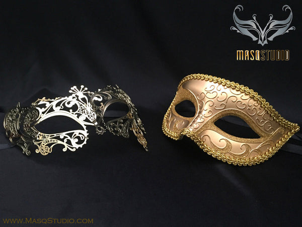 Couple Masquerade Mask Set Laser cut Gold Lace Phantom