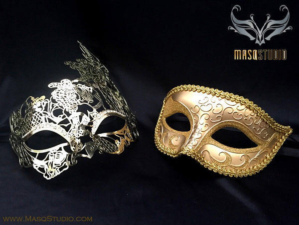 Couple Masquerade Mask Set Elegant Laser cut Gold pair
