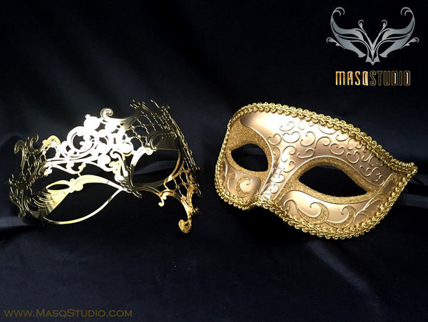 Couple Masquerade Mask Set Laser cut Mysterious Gold Phantom