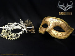 Couple Masquerade Mask Set Laser cut Mysterious Gold CHLOE