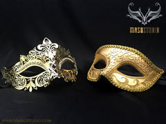 Couple Masquerade Mask Set Laser cut Mysterious Gold STACY