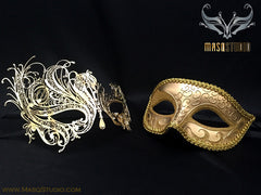 Couple Masquerade Mask Set Laser cut Mysterious Gold SWAN