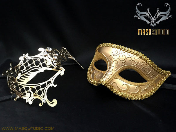 Couple Masquerade Mask Set Laser cut Gold Phantom