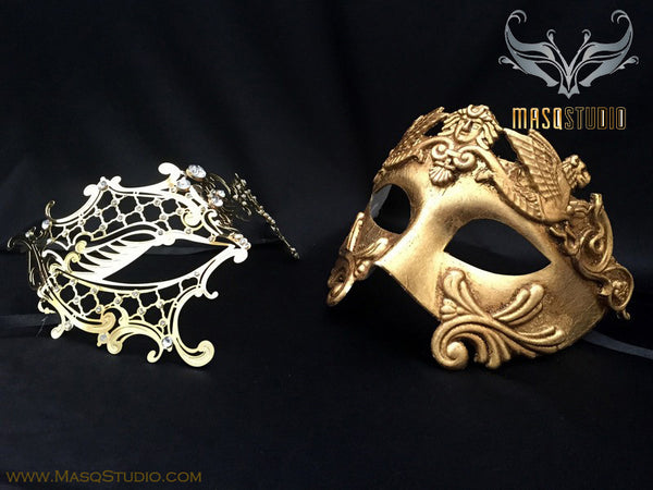 Roman Gladiator Couple Masquerade Mask Laser cut Gold Phantom