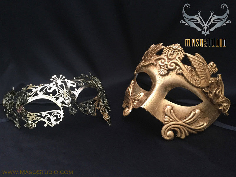 Roman Gladiator Couple Masquerade Mask Laser cut Gold lace Phantom