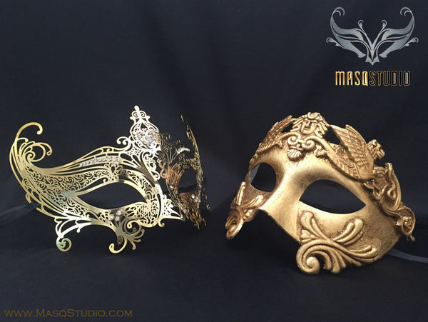 Roman Gladiator Couple Masquerade Mask Laser cut Gold SERENA