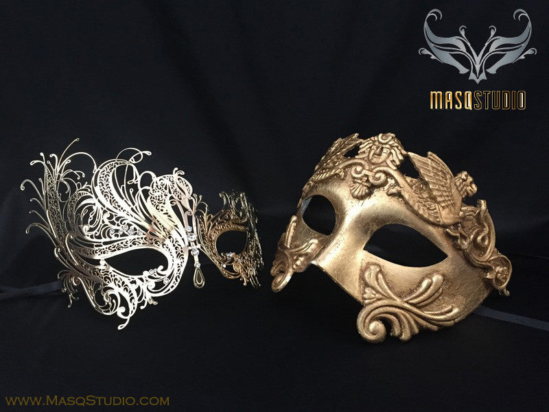 Roman Gladiator Couple Masquerade Mask Laser cut Gold SWAN