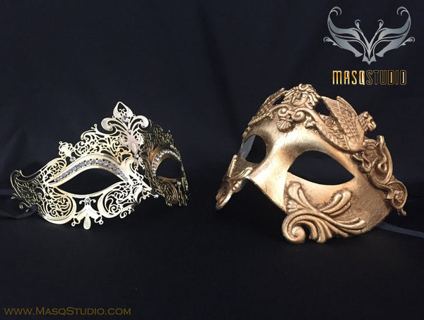 Roman Gladiator Couple Masquerade Mask Laser cut Gold Stacy