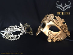 Roman Gladiator Couple Masquerade Mask Laser cut Gold CHLOE