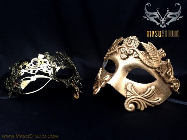 Roman Gladiator Couple Masquerade Mask Laser cut Gold Mysterious Phantom
