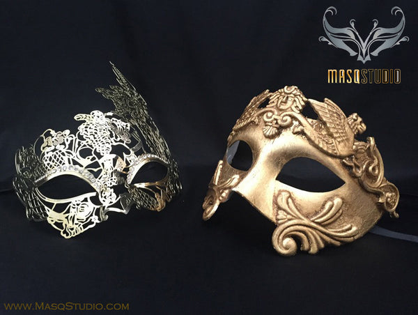 Roman Gladiator Couple Masquerade Mask Laser cut Gold Floral