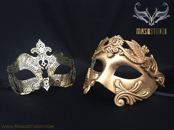 Roman Gladiator Couple Masquerade Mask Laser cut Gold Petite