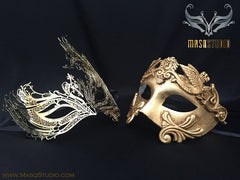 Roman Gladiator Couple Masquerade Mask Laser cut Gold Mysterious SWAN