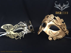 Roman Gladiator Couple Masquerade Mask Laser cut Gold CAT