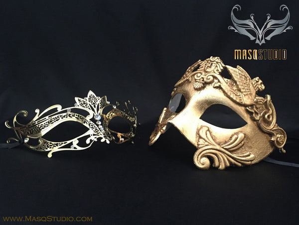 Roman Gladiator Couple Masquerade Mask Laser cut Gold LOTTO