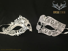 Luxury Venetian Couple Stacy White Masquerade Mask Set