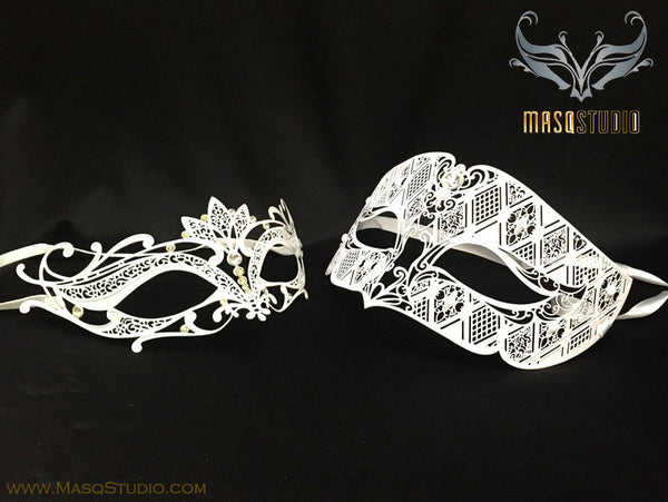 Filigree Laser cut Metal Couple Masquerade Mask Set Lotto White