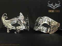 Luxury Laser cut Metal Couple Gossip Girl Gold Serena Masquerade Mask Set